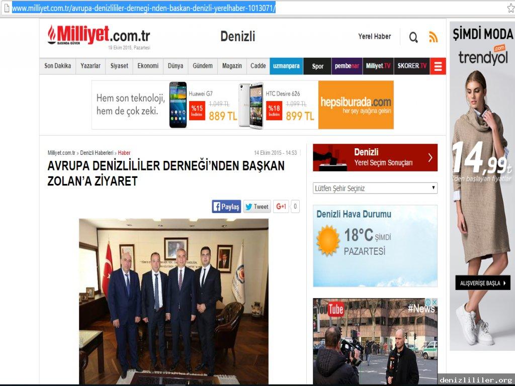 Milliyet - Avrupa Denizlililer Derneği'nden Başkan Zolan'a ziyaret