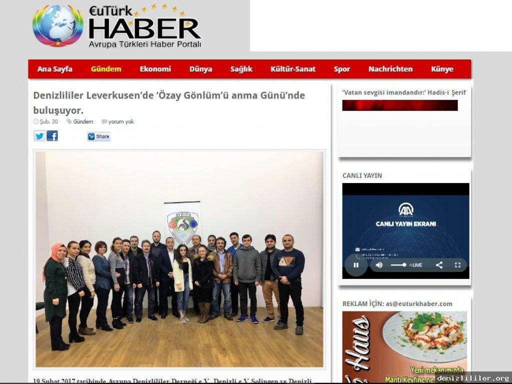 euturkhaber.com - Denizlililer Leverkusen'de 'Özay Gönlüm'ü anma Günü'nde buluşuyor