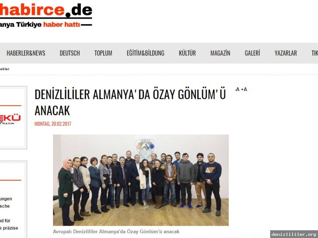 muhabirce.de - DENİZLİLİLER ALMANYA'DA ÖZAY GÖNLÜM'Ü ANACAK